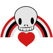 Punky EMO skull with heart and rainbow cool!