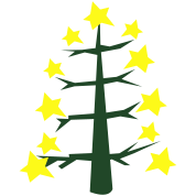 COOL trendy skinny Christmas tree with star baubles