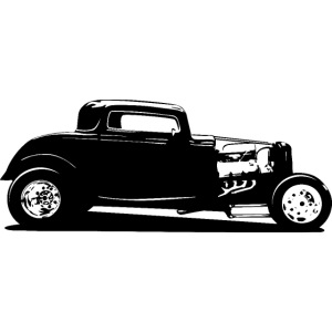 Classic American Thirties Hot Rod Car Silhouette