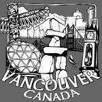 Vancouver Souvenir Shirt B&W Landmark Art