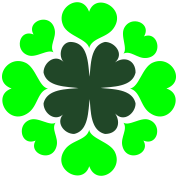 four leaf clover with love hearts