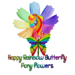Happy Rainbow Butterfly Pony Flowers