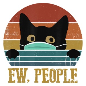 Ew People Black Cat Funny Vintage Anti Social