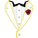 Gold Lined Tux w/Red Flower MK