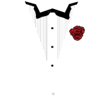 White Lined Tux w/Red Rose