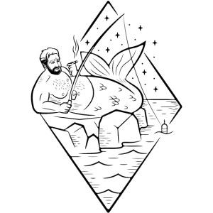 Misguided Merman Smoking and Fishing Design
