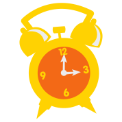 an alarm clock at three 3 o'clock