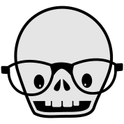 new skull with glasses