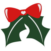pretty christmas bow with holly and a little cute love heart