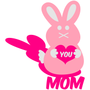 love you mom bunny lover rabbit cute with love heart