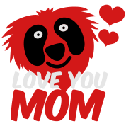 love you mom with red monster and heart so cute !