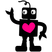 robot cute with love heart