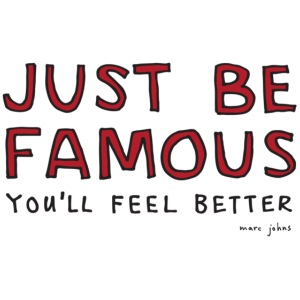 just be famous - black & red