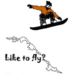 like to fly snowboarding printed hoodie