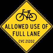 Bikes Allowed Use of Full Lane