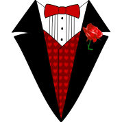 Valentine's Day Tuxedo T-Shirt, Red Heart w/ Rose