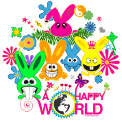 happy world bunny rabbit hare bunnies flower butterfly jackass long ear ying yang palm
