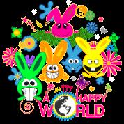 happy world bunny rabbit hare bunnies flower butterfly jackass long ear ying yang palm