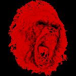 Gorilla Roaring Red
