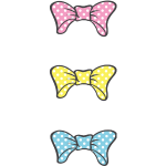 Three Bows Different Colors With White Dotts