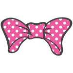 Bow Pink With White Dotts