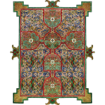 Lindisfarne Gospels: Cross-carpet page introducing the Gospel according to St. Matthew.