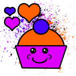 Pink & Orange Cupcake With Hearts