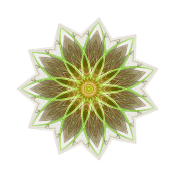 """Fractal Flower Yellow"" Geometric Art"