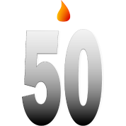 Big Fifty With Candle Flame And Shading--DIGITAL DIRECT PRINT