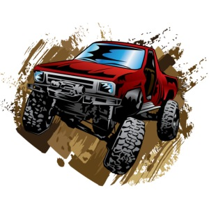 Muddy Red Off-Road Truck