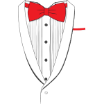 Fake Tuxedo Red Tie