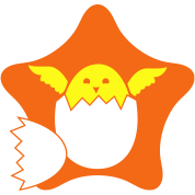 cracked egg chick on a star