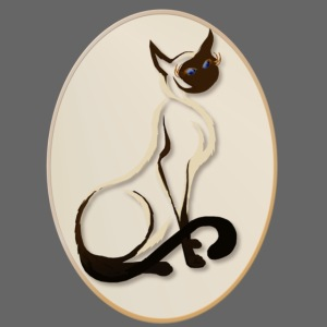 Sitting Siamese Kitty Oval