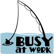 busy at work fishing t-shirt