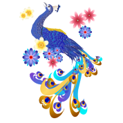 Fancy Peacock and Flowers