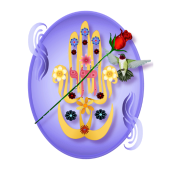 Hamsa and Flowers Oval
