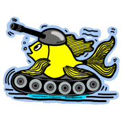 Tank Fish with a cannon,  sparky fabspark