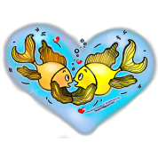 Big Love cute Fish hug in Blue Hart, By FabSpark