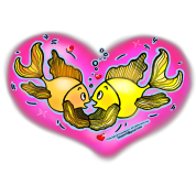 Big Love cute Fish hug in Pink Hart, By FabSpark