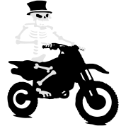 Skeleton with cylinder moves Motorcross Bike