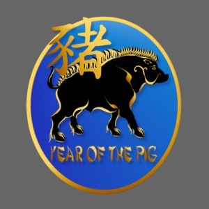 Year Of The Pig-Black Boar Symbol Oval
