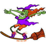 Crazy Witch Surfing on her Broom