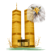 Gold Twin Towers and Eagle