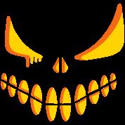 An illuminated pumpkin face