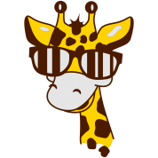 A giraffe with cool sunglasses