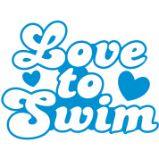 love to swim swimmer with love hearts