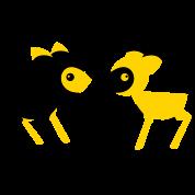 lover little deers noses together opposite