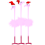 Three Christmas Flamingos