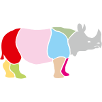 rhino rhinoceros africa horn horny wild animal colorful colors map funny happy