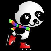 Cute Skating Kawaii Cartoon Panda Bear with Stripe
